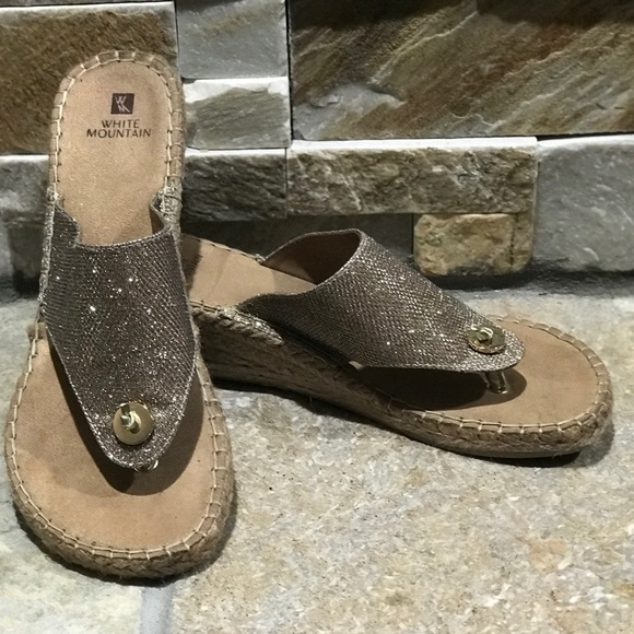 White Mountain Shoes - NEW, White Mountain, gold shimmer wedge sandals